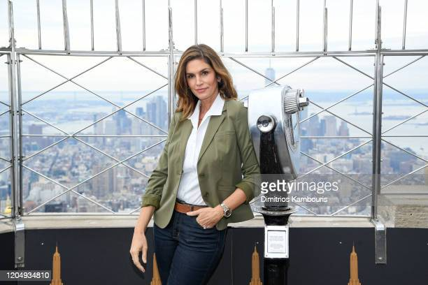 Cindy Crawford attends the Empire State Building in celebration of International Women's Day in partnership with Delivering Good and Jones New York...