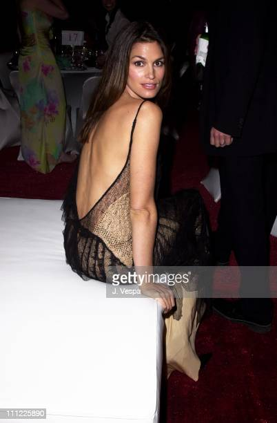 Cindy Crawford during Marc Anthony Pilots Jaguar's Tribute To Style March 18 2001 at Barker Hangar in Santa Monica California United States