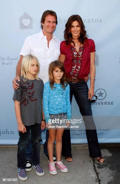 Cindy Crawford husband Rande Gerber and son Presley and daughter Kaya arrive to the John Varvatos 6th Annual Stuart House Benefit at the John...