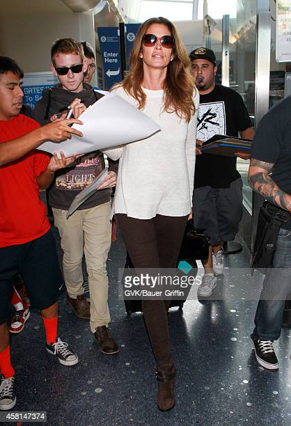 Cindy Crawford is seen at LAX on October 30 2014 in Los Angeles California