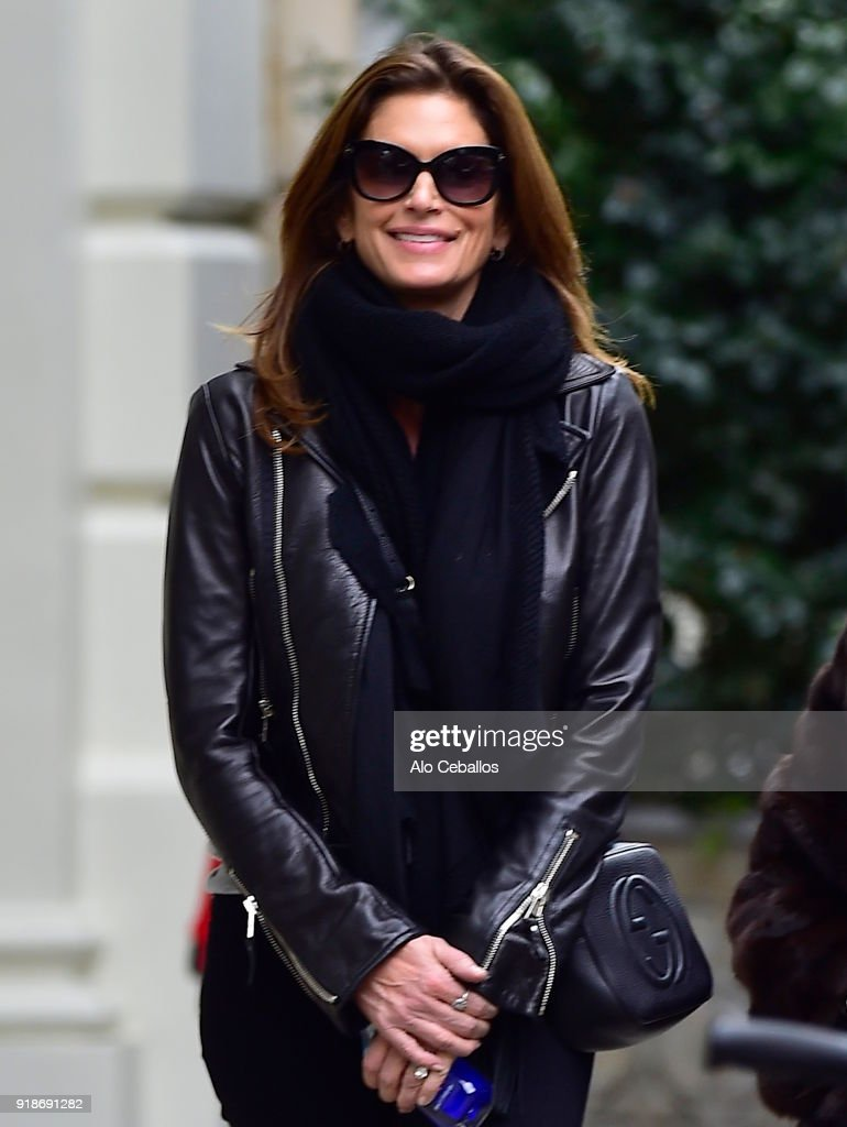 Cindy Crawford is seen Shopping in Soho on February 15, 2018 in New York City.