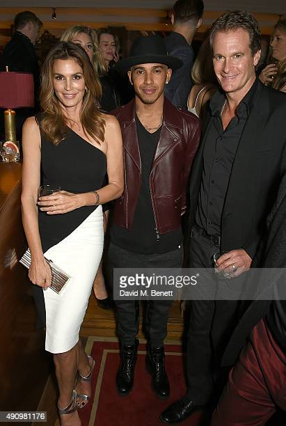 Cindy Crawford Lewis Hamilton and Rande Gerber attend the London launch of Casamigos Tequila and Cindy Crawford's book 'Becoming' hosted by Rande...