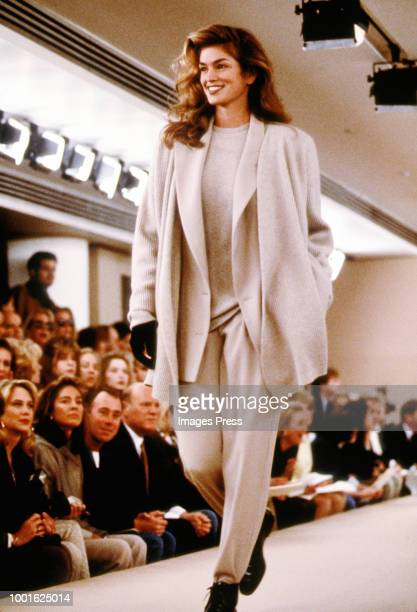 Cindy Crawford modeling Calvin Klein during New York Fashion Week circa 1992 in New York.