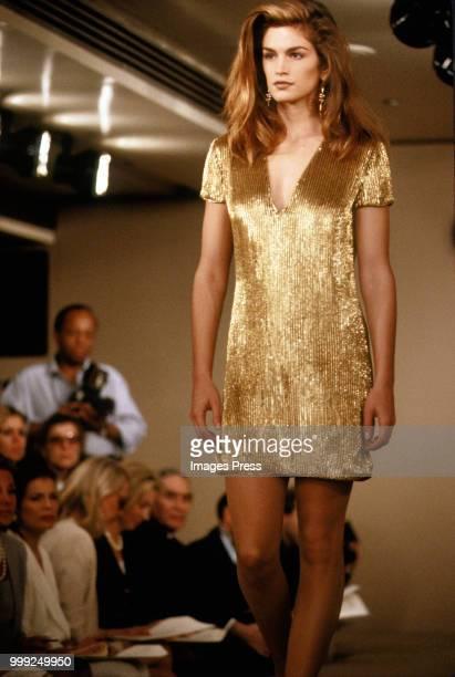 Cindy Crawford models Calvin Klein during New York Fashion Week circa 1991 in New York.