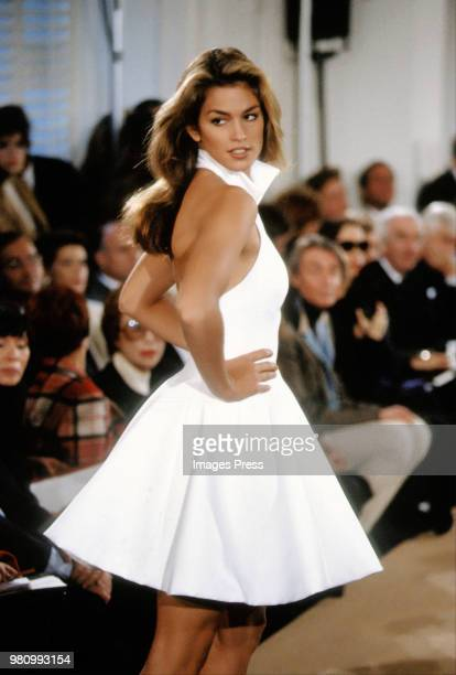 Cindy Crawford models Ralph Lauren during New York Fashion Week 1991 in New York