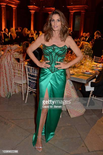 Cindy Crawford wearing Versace attends The Green Carpet Fashion Awards Italia 2018 after party at Gallerie d'Italia on September 23 2018 in Milan...