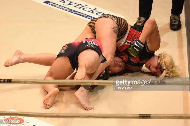 Cindy Dandois of Belgium and KING Reina of Japan compete in the women's bout during the RIZIN Fighting World GrandPrix 2017 2nd Round at Saitama...