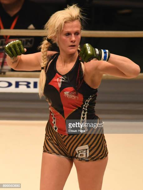 Cindy Dandois of Belgium celebrates her decision victory against KING Reina of Japan in the women's bout during the RIZIN Fighting World GrandPrix...