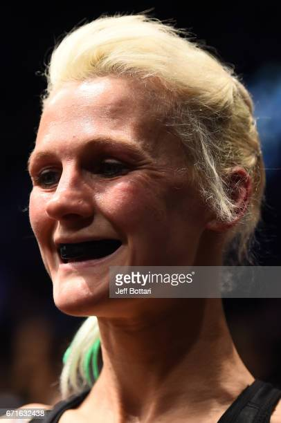 Cindy Dandois of Belgium prepares to enter the Octagon before her women's bantamweight bout during the UFC Fight Night event at Bridgestone Arena on...
