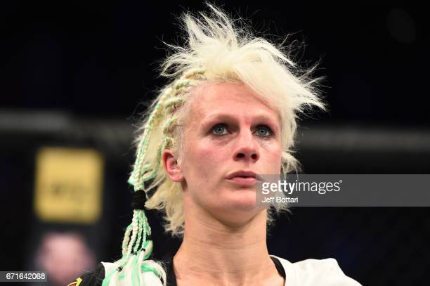Cindy Dandois of Belgium reacts after the conclusion of her women's bantamweight bout against Alexis Davis of the Canada during the UFC Fight Night...
