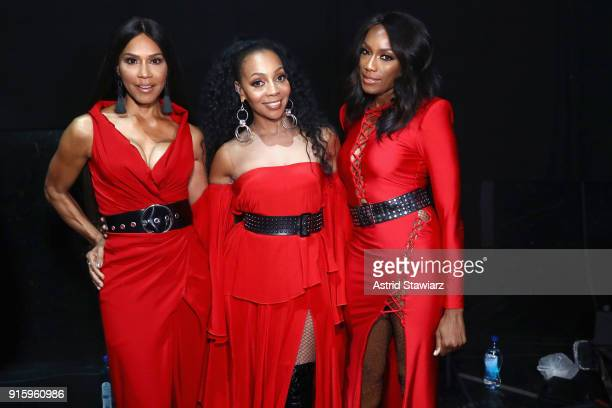 Cindy HerronBraggs Terry Ellis and Rhona Bennett of En Vogue attend the American Heart Association's Go Red For Women Red Dress Collection 2018...