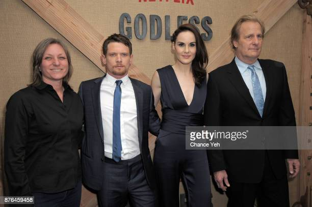 Cindy Holland Jack O'Connell Michelle Dockery and Jeff Daniels attend 'Godless' New York premiere at The Metrograph on November 19 2017 in New York...