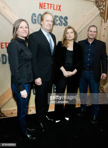Cindy Holland Jeff Daniels Merritt Wever and Scott Frank attend Godless New York premiere at The Metrograph on November 19 2017 in New York City