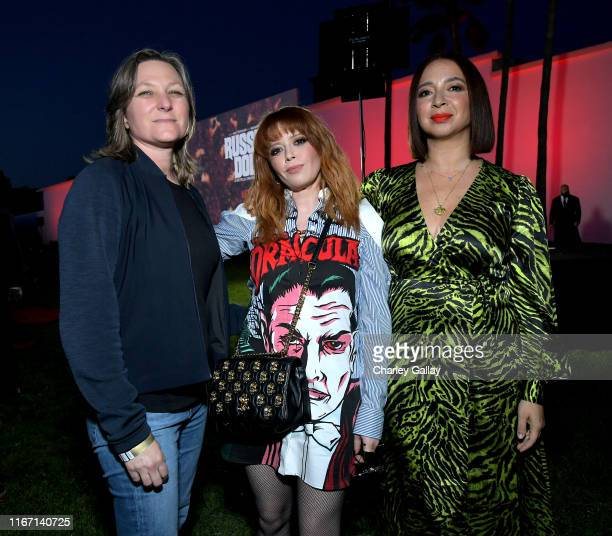Cindy Holland, Natasha Lyonne and Maya Rudolph attend the 'Russian Doll' Screening and Reception at Hollywood Forever on August 09, 2019 in...