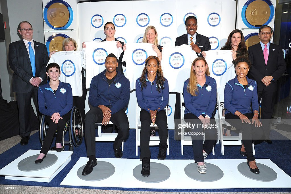 Cindy Housner Great Lakes Adaptive Sports Association, Mariah Cunnick USA Swimming Foundation, Director of Development, Jill Geer USA Track and Field, Chief Communications Officer, Ed Foster-Simeon U.S. Soccer Foundation, President and Chief Executive Officer, Lisa Baird United States Olympic Committee, Chief Marketing Officer, (L-R, front row) Amanda McGrory, Cullen Jones, Sanya Richards-Ross, Christie Rampone and Dominique Dawes of Team Citi take a 'signature step' to kick off Citi's Every Step of the Way Olympic program on April 12, 2012 in New York City.