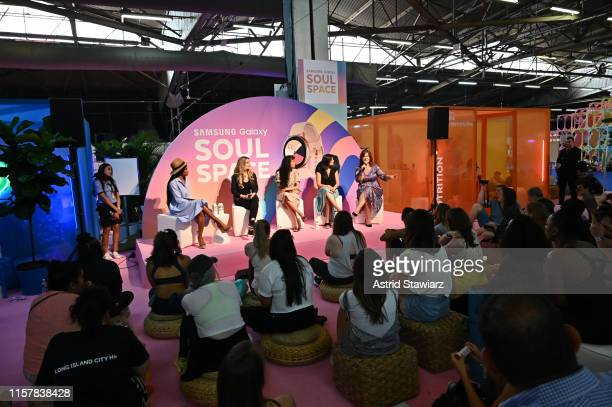 Cindy Kasindorf, Sophia Roe, Sonia Hunt and Jill Blakeway speak osntage during POPSUGAR Play/Ground at Pier 94 on June 23, 2019 in New York City.