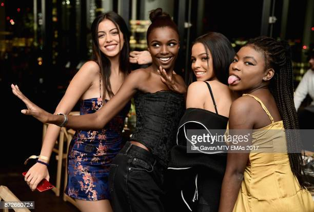 Cindy Kimberly Leomie Anderson Monica Geuze and guest attend the It Girls and MTV EMA Correspondents Dinner held at The Ace Hotel ahead of the MTV...