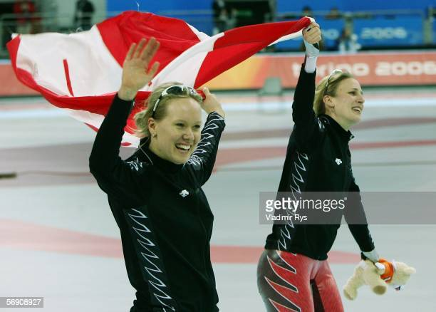 Cindy Klassen and Kristina Groves both of Canada celebrates after winning gold and silver respectively in the 1500m women's Speed Skating Final...