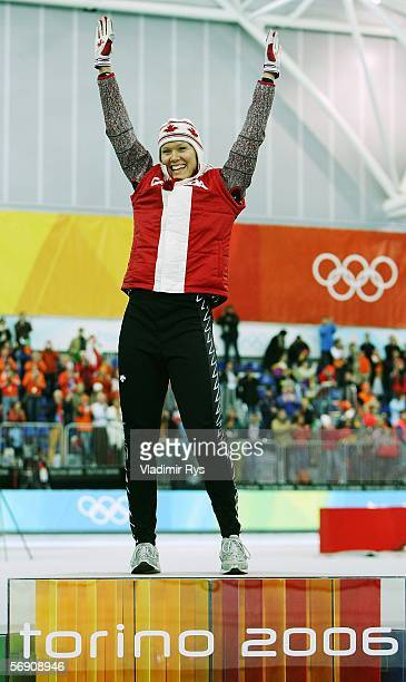 Cindy Klassen of Canada celebrates after winning gold in the 1500m women's Speed Skating Final during Day 12 of the Turin 2006 Winter Olympic Games...