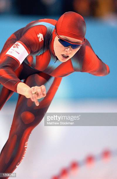Cindy Klaussen of Canada skates in the women's 5000m speed skating event during the Salt Lake City Winter Olympic Games on February 23 2002 at the...