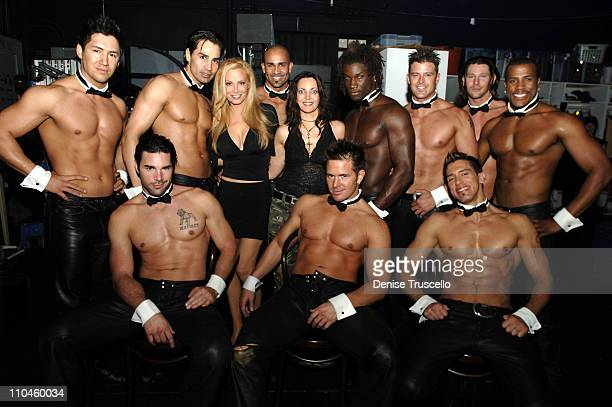 Cindy Margolis and Vinette Silvers with Chippendales Dancers