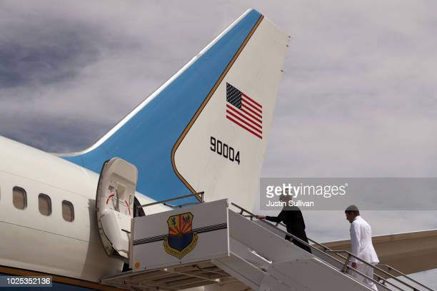 Cindy McCain boards a plane at Goldwater Air National Guard Base Phoenix Sky Harbor International Airport following a memorial service to celebrate...