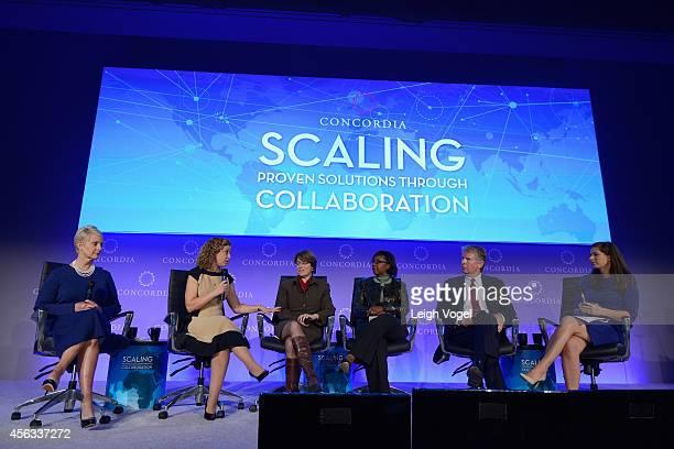 Cindy McCain, Debbie Wasserman Schultz, Amy Klobuchar, Letty Ashworth, Cyrus R. Vance and Erin Burnett, speak onstage at the 2014 Concordia Summit -...