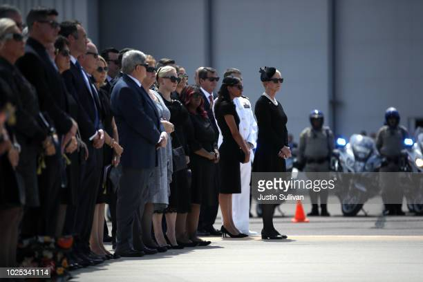 Cindy McCain is joined by friends and family as the casket of US Sen John McCain is transferred at Goldwater Air National Guard Base Phoenix Sky...