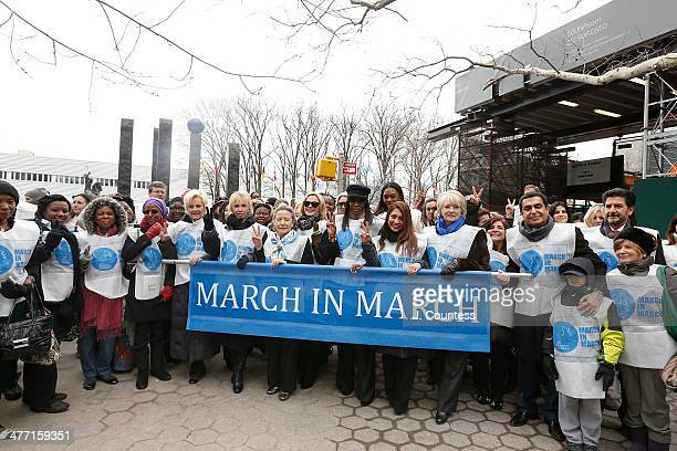 Cindy McCain Trudy Styler Ban SoonTaek Kim Cattrall Naomi Campbell Muna Rihani Al Nasser and Nassir AlNasser march at the MARCH IN MARCH to end...
