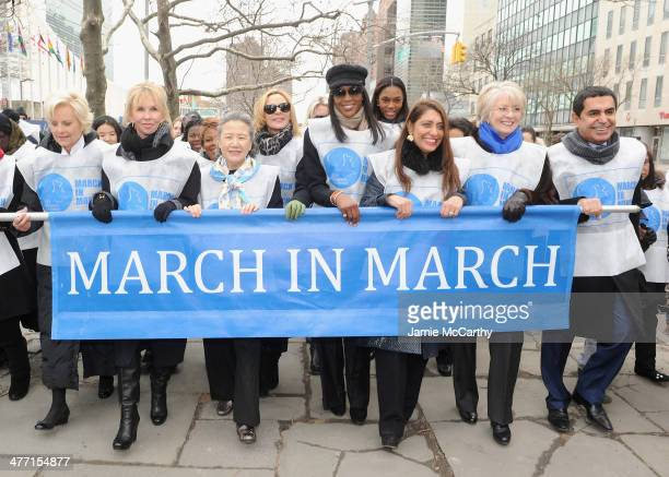 Cindy McCain Trudy StylerBan SoonTaekKim Cattrall Naomi Campbell Muna Rihani Al Nasser and Nassir AlNasser attend the MARCH IN MARCH to end violence...