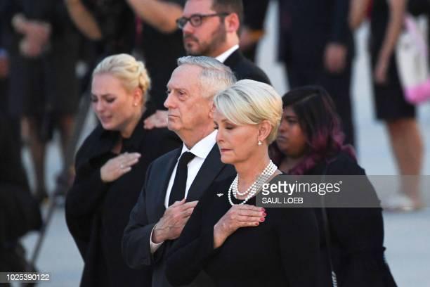 Cindy McCain wife of late US Senator John McCain Republican of Arizona her daughters Meghan McCain and Bridget McCain and US Secretary of Defense...
