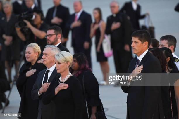 Cindy McCain wife of late US Senator John McCain Republican of Arizona his daughters Meghan McCain and Bridget McCain and son Andrew McCain and US...