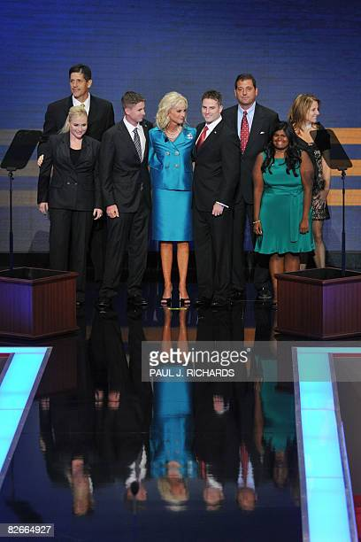 Cindy McCain wife of Republican presidential nominee stands on stage with her children during the Republican National Convention 2008 at the Xcel...