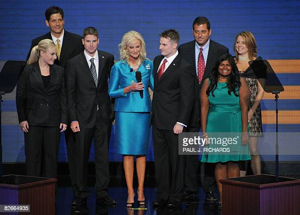 Cindy McCain wife of Republican presidential nominee stands on stage with family members during the Republican National Convention 2008 at the Xcel...