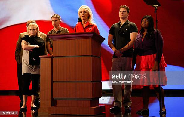Cindy McCain wife of Republican presidential nominee US Sen John McCain stands at the podium with her children Bridget Jack James and Meghan during a...