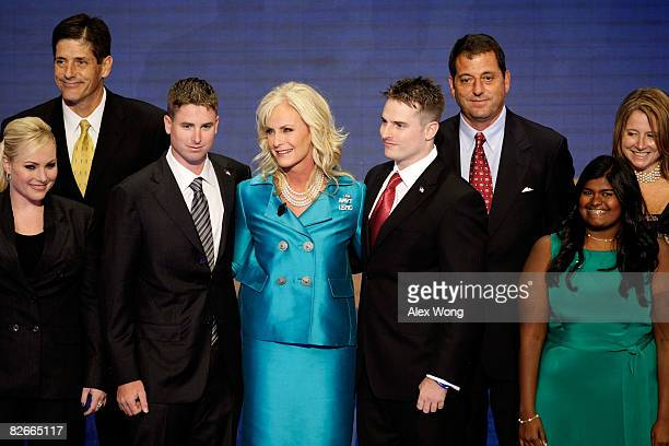 Cindy McCain wife of Republican US presidential nominee US Sen John McCain stands with her children Meghan Andy Jimmy Jack Doug Bridget and Sidney...