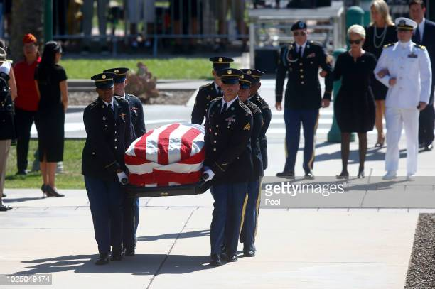 Cindy McCain wife of Sen John McCain RAriz arrives with her sons Jack and Jimmy during a memorial service at the Arizona Capitol on August 29 2018 in...