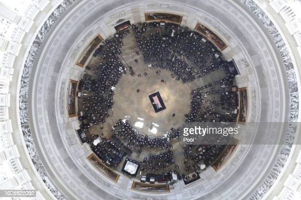 Cindy McCain wife of the late US Sen John McCain RAriz stands over his casket as he lies in state in the US Capitol Rotunda on August 31 in...
