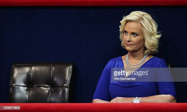Cindy McCain wife of US Sen John McCain sits in the VIP box during the third day of the Republican National Convention at the Tampa Bay Times Forum...