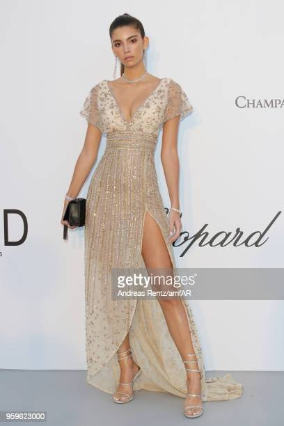 Cindy Mello arrives at the amfAR Gala Cannes 2018 at Hotel du Cap-Eden-Roc on May 17, 2018 in Cap d'Antibes, France.