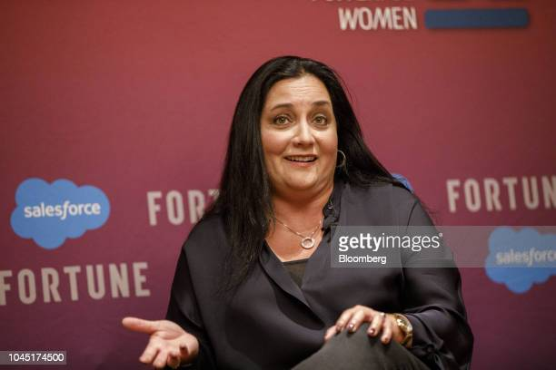 Cindy Robbins president and chief people officer of Salesforcecom Inc speaks during the Fortune's Most Powerful Women conference in Dana Point...