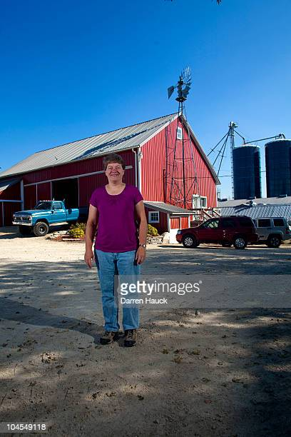 Cindy Roden stands for a portrait at the farm RobNCin on September 29 2010 in West Bend Wisconsin The farm has roughly 400 head of cattle and about...
