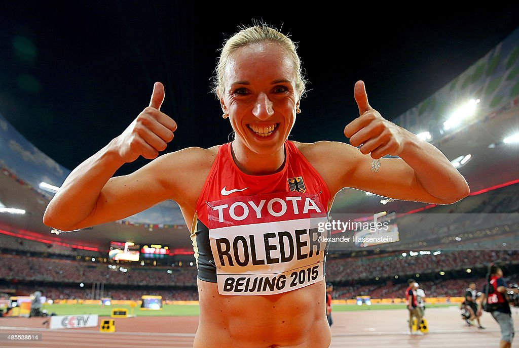 Cindy Roleder of Germany celebrates after winning silver in the Women's 100 metres hurdles final during day seven of the 15th IAAF World Athletics Championships Beijing 2015 at Beijing National Stadium on August 28, 2015 in Beijing, China.