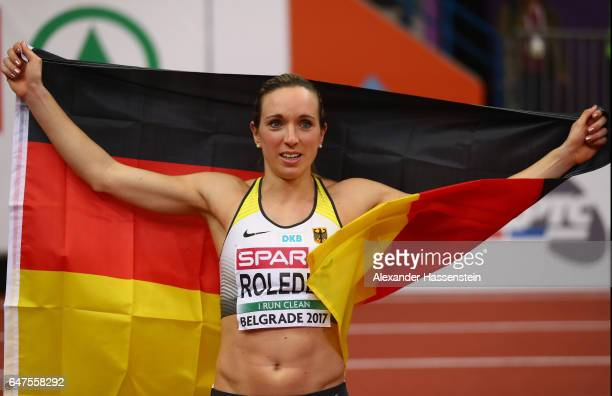 Cindy Roleder of Germany celebrates after winning the gold medal in the Women's 60 metres hurdles final on day one of the 2017 European Athletics...