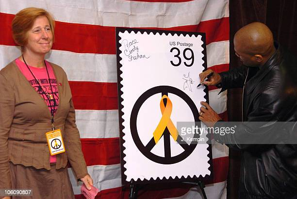 Cindy Sheehan and Darryl McDaniels during Bring 'Em Home Now! 3rd Iraq War Anniversary Concert at Hammerstein Ballroom in New York City, New York,...