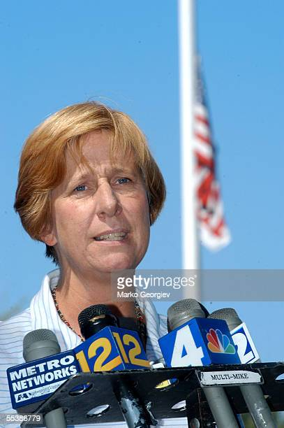 Cindy Sheehan speaks at a news conference in front of Westfield Town House September 12 2005 in Westfield New Jersey Sheehan a mother of a soldier...