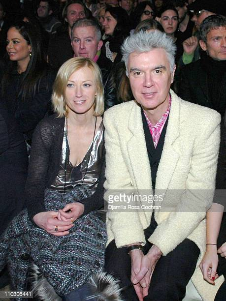 Cindy Sherman and David Byrne during MercedesBenz Fashion Week Fall 2007 Marc Jacobs Front Row at New York State Armory in New York City New York...