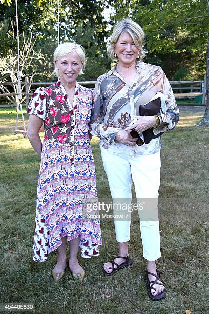 Cindy Sherman and Martha Stewart attend the Perfect Earth Project Family Picnic and Concert on August 30 2014 in East Hampton New York