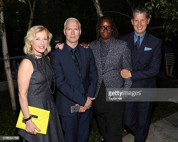 Cindy Sherman Klaus Biesenbach Mickalene Thomas and Stefano Tonchi attend the 2015 MoMA PS1 Benefit Gala at MoMA on June 25 2015 in New York City