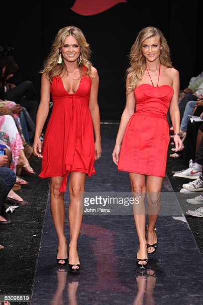 Cindy Taylor and Joanna Krupa walks the runway at the Red Dress Show for the American Heart Association during Funkshion Fashion Week at Miami Beach...